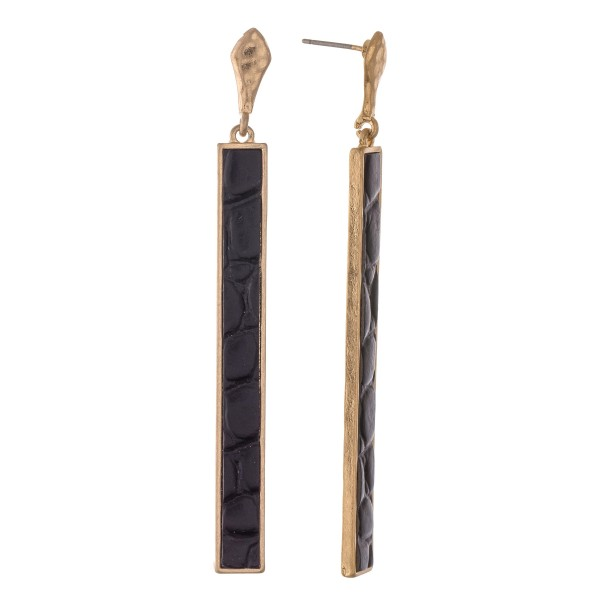 "Metal Encased Faux Leather Animal Print Bar Drop Earrings.  - Approximately 3"" L"