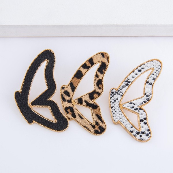"Snakeskin faux leather encased butterfly match drop earrings.  - Stud post - Approximately 2.75"" L"