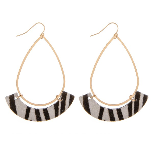 "Gold Teardrop Earrings with Faux Leather Zebra Print Accent.  - Approximately 3"" L"
