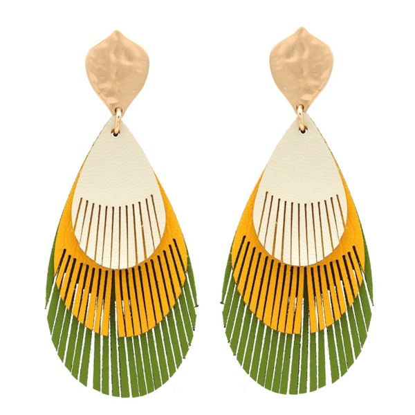 "Three tone faux leather teardrop feather cut out drop earrings.  - Approximately 3"" L"