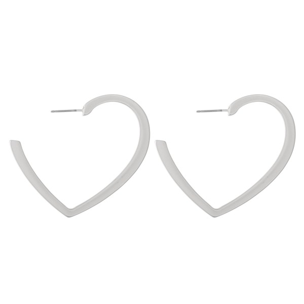 """Metal heart shaped earrings - Approximately 2"""" L"""