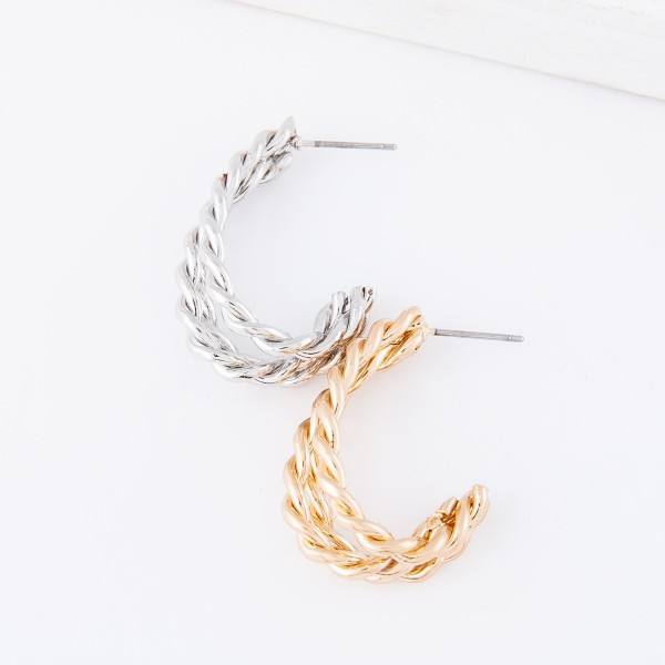 """Oval shaped metal hoop earrings featuring braided details  - Approximately 1"""" L"""