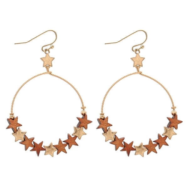 """Wooden Star Beaded Circle Drop Earrings.   - Approximately 2.25"""" L"""