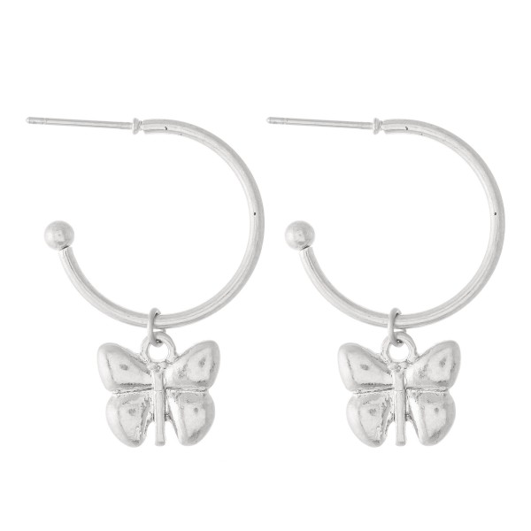 "Small Hoop Earrings Featuring A Removable Butterfly Charm  - Approximately .5"" in diameter"