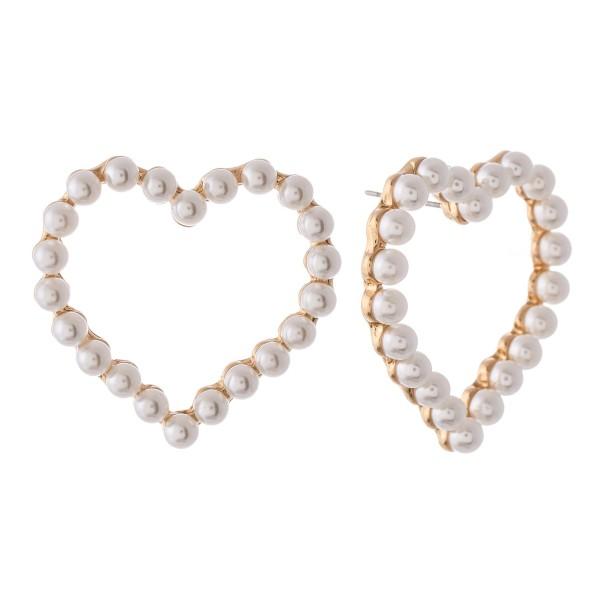 "Pearl beaded oversized heart stud earrings.  - Approximately 1.25"" L"