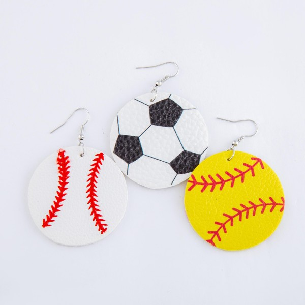 "Baseball embroidered faux leather drop earrings.  - Approximately 2.5"" L  - 1.75"" in diameter"
