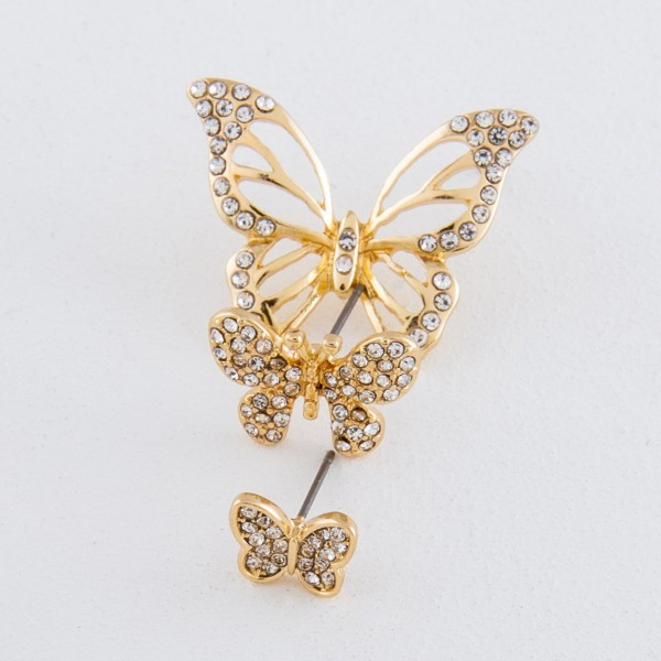 Gold rhinestone butterfly stud earrings.  - Approximately .75""