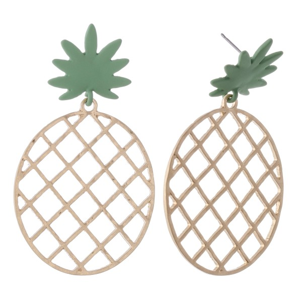 "Gold pineapple statement drop earrings with coated post.  - Approximately 2.5"" L"