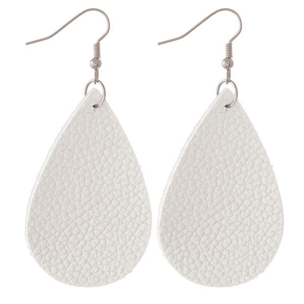 "Solid faux leather teardrop earrings.  - Approximately 2.75"" L"
