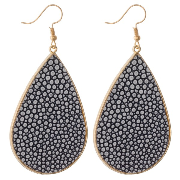 "Pebble faux leather encased statement teardrop earrings.  - Approximately 3"" L"