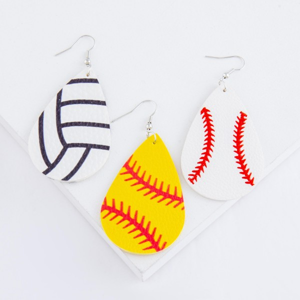 "Volleyball faux leather teardrop earrings.  - Approximately 3"" L"