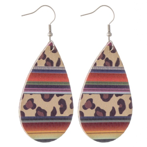 "Leopard print serape faux leather teardrop earrings.  - Approximately 3"" L"
