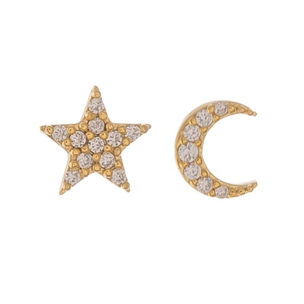 Gold dipped dainty rhinestone moon & star mix match stud earrings.  - Approximately 5mm