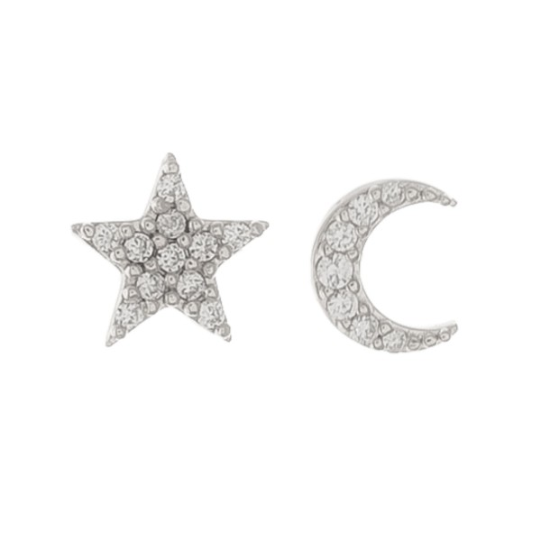 White Gold dipped dainty rhinestone moon & star mix match stud earrings.  - Approximately 5mm