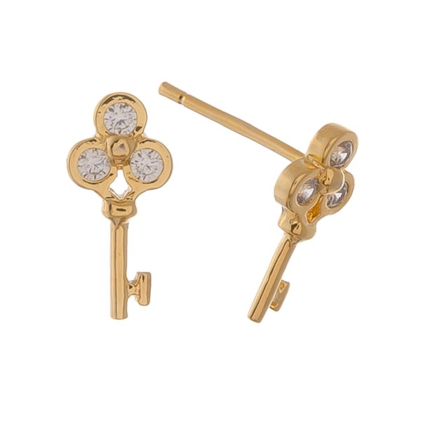 Gold dipped dainty rhinestone key stud earrings.  - Approximately 1cm L
