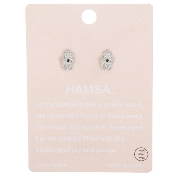 White Gold dipped dainty rhinestone hamsa stud earrings.  - Approximately 1cm