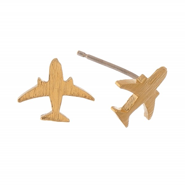 Gold dipped dainty airplane stud earrings.  - Approximately 1cm