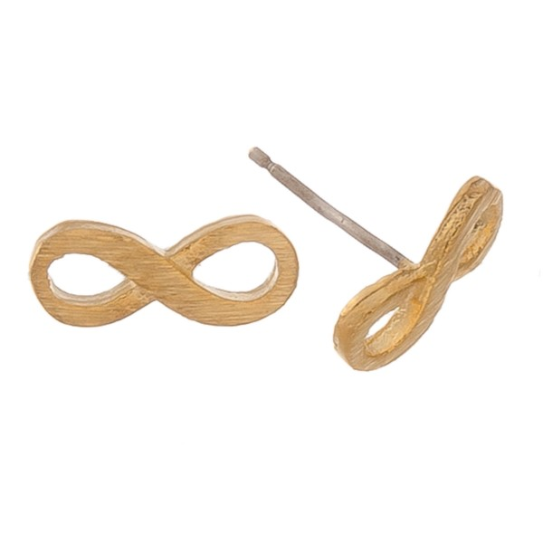 Gold dipped dainty infinity stud earrings.  - Matte finish - Approximately 1cm