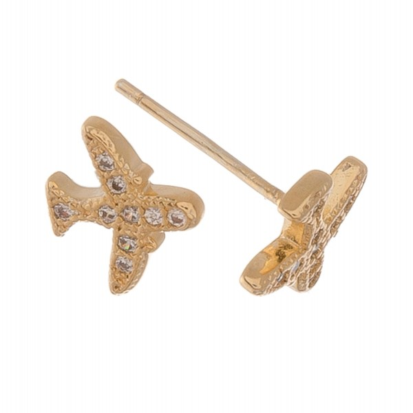 Gold dipped dainty rhinestone airplane stud earrings.  - Approximately 6mm