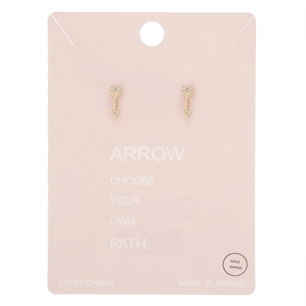Gold dipped dainty rhinestone arrow stud earrings.  - Approximately 1cm L