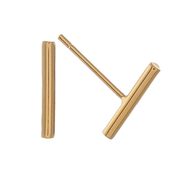 Gold dipped dainty bar earrings.  - Approximately 1cm L