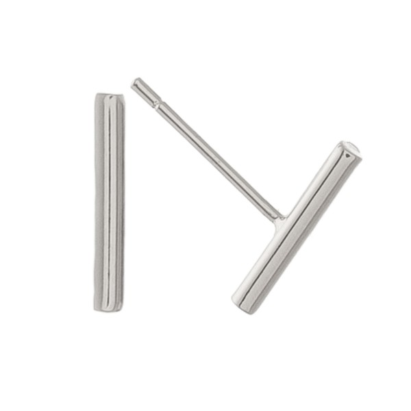White Gold dipped dainty bar earrings.  - Approximately 1cm L