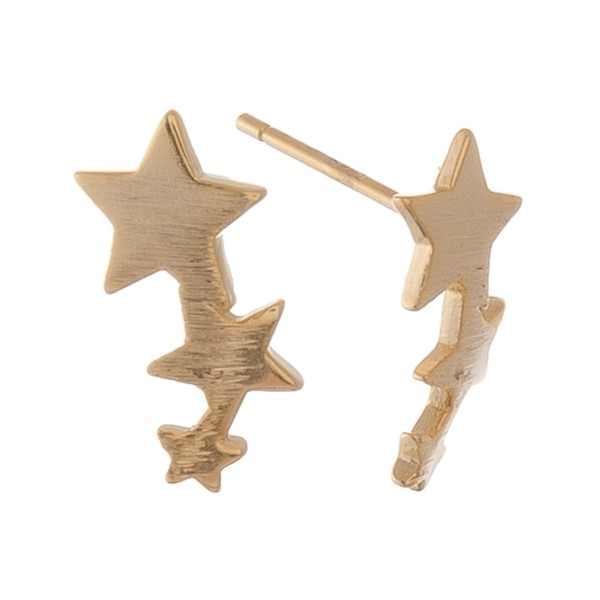 """Gold dipped dainty star ear climber stud earrings.  - Approximately .5"""" L"""