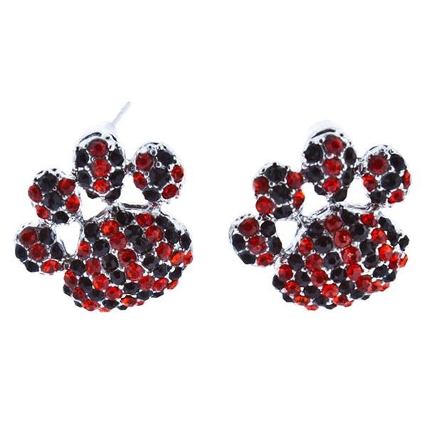 "1"" Stud paw earrings with orange and black rhinestones."