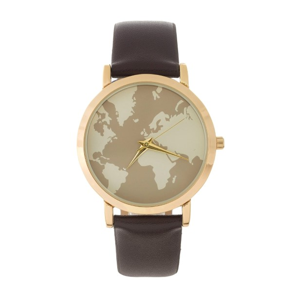 Faux leather watch with a neutral, world map on the face. | 301328 ...