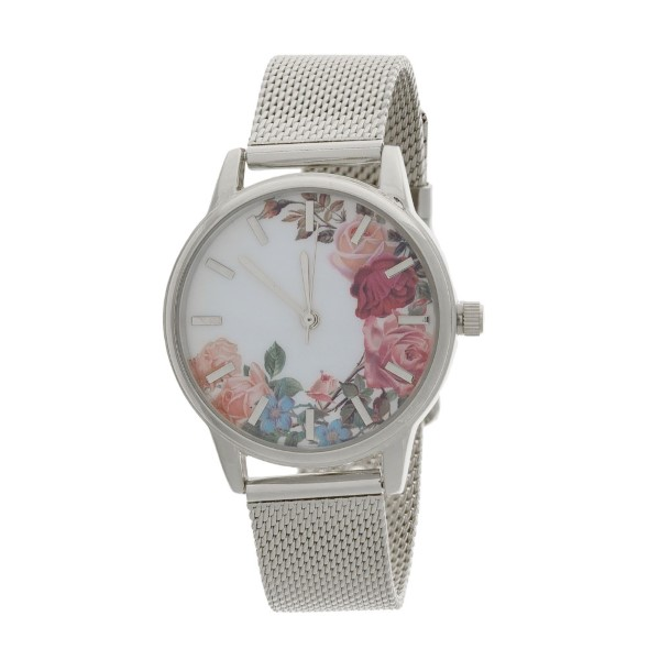 Stainless steel, mesh band watch with a floral printed face.