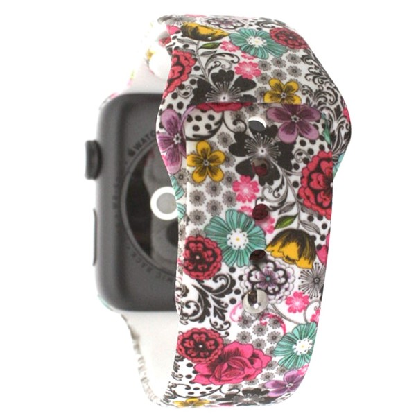 Paisley and floral print silicone watch band for smart watches. Fits the 38mm size smart watch.