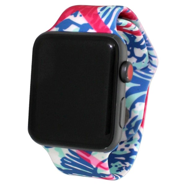 "Sea life print silicone watch band for smart watches. Fits the 38mm size smart watch. WATCH NOT INCLUDED. Fits apple watch Approximate 4"" in length."