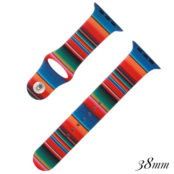 Stripe print silicone watch band for smart watches. Fits the 38mm size smart watch.