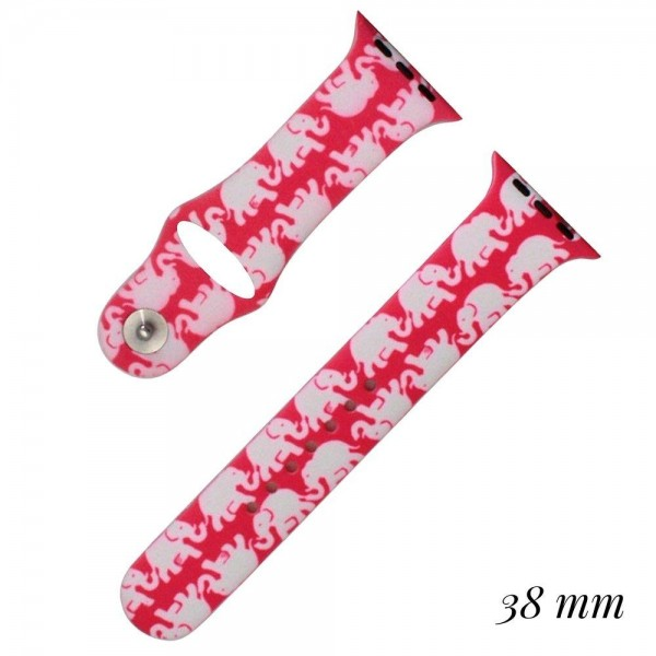 Elephant print silicone watch band for smart watches. Fits the 38mm size smart watch.