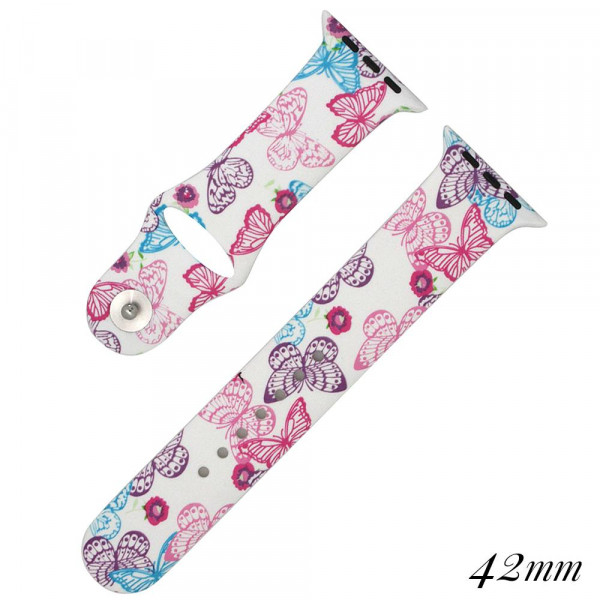 Butterfly print watch band for smart watches. Fits the 42mm size smart watch. WATCH NOT INCLUDED.