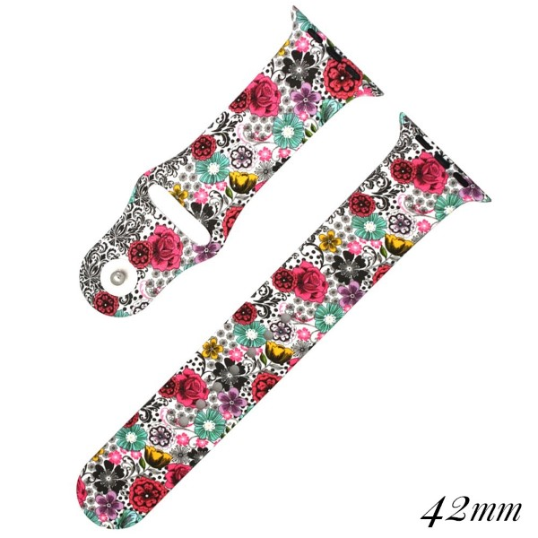 Floral print silicone watch band for smart watches. Fits the 42mm size smart watch. WATCH NOT INCLUDED.