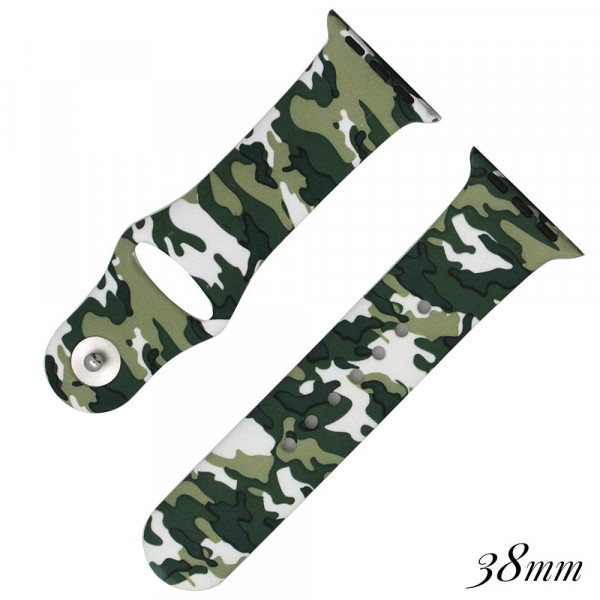 Camouflage print silicone watch band for smart watches. Fits the 38mm size smart watch.