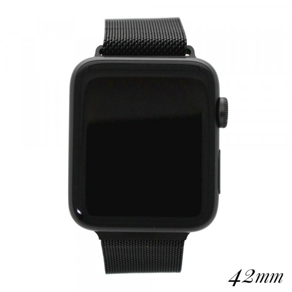 """Black metal magnetic watch band for smart watches. Fits the 42mm size smart watch. Fits apple watch Approximate 5 1/2"""" in length."""