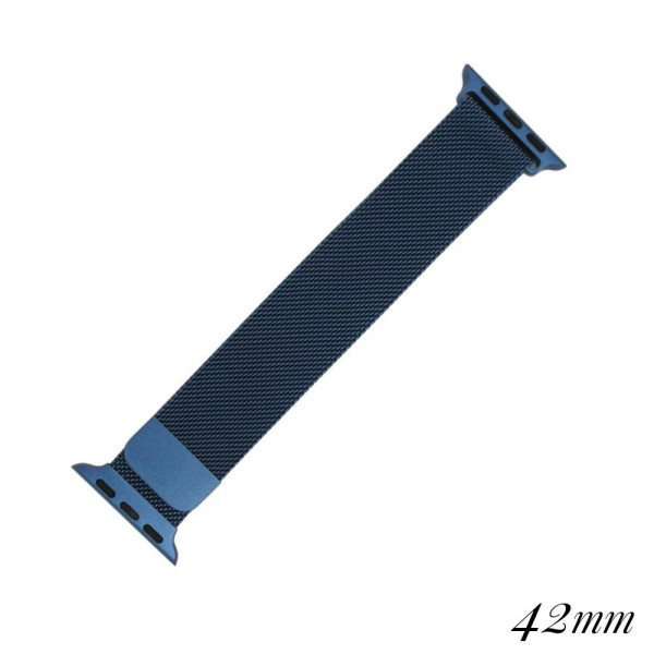 """Blue metal magnetic watch band for smart watches. Fits the 42mm size smart watch. Fits apple watch Approximate 5 1/2"""" in length."""