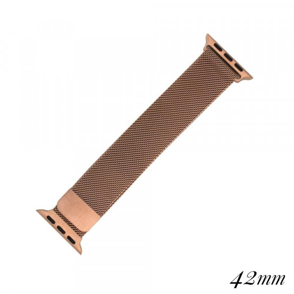 """Bronze Rose metal magnetic watch band for smart watches. Fits the 42mm size smart watch. Fits apple watch Approximate 5 1/2"""" in length."""