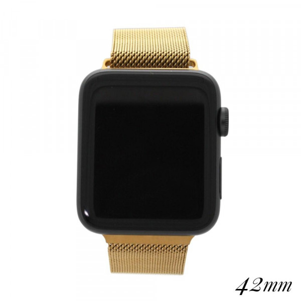 """Gold metal magnetic watch band for smart watches. Fits the 42mm size smart watch. Fits apple watch Approximate 5 1/2"""" in length."""