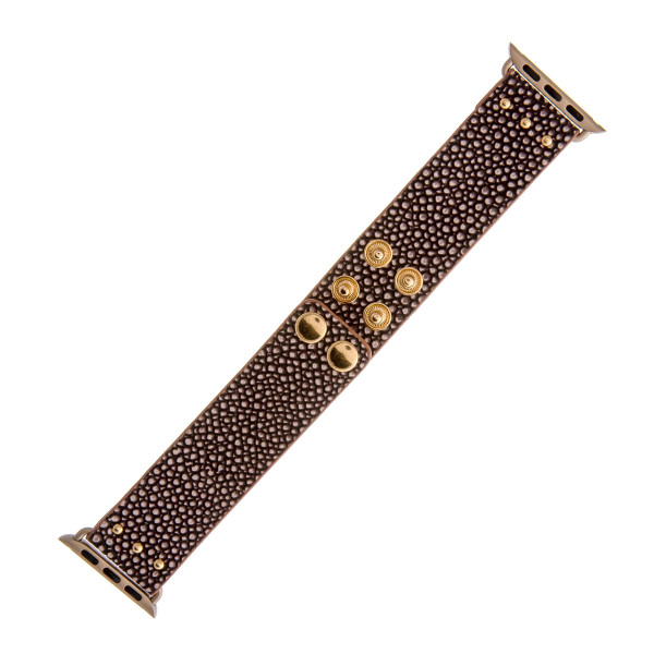"""Interchangeable faux leather watch band for smart watches featuring reptile skin details. WATCH NOT INCLUDED. Approximately 9.75"""" in length.  - 42mm - Adjustable closure"""