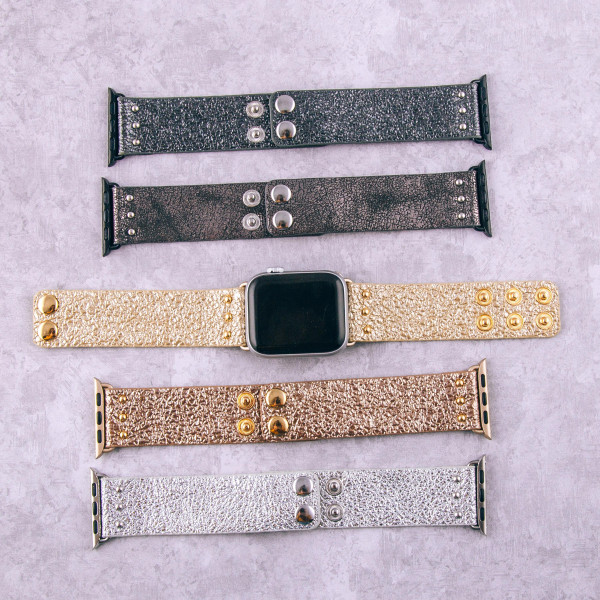 """Hematite interchangeable faux leather watch band for smart watches featuring metallic details. WATCH NOT INCLUDED. Approximately 9.75"""" in length.  - 38mm - Adjustable closure"""