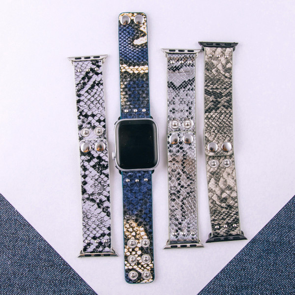 """Interchangeable faux leather watch band for smart watches featuring snakeskin details. WATCH NOT INCLUDED. Approximately 9.75"""" in length.  - 38mm - Adjustable closure"""