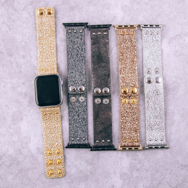 """Rose gold interchangeable faux leather watch band for smart watches featuring metallic details. WATCH NOT INCLUDED. Approximately 9.75"""" in length.  - 38mm - Adjustable closure"""