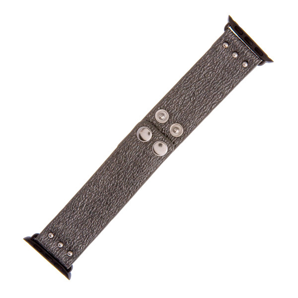 """Interchangeable faux leather watch band for smart watches featuring metallic details. WATCH NOT INCLUDED. Approximately 9.5"""" in length.  - 38mm - Adjustable closure"""