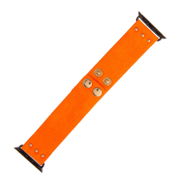 """Interchangeable neon faux leather watch band for smart watches. WATCH NOT INCLUDED. Approximately 9.5"""" in length.  - 38mm - Adjustable closure"""