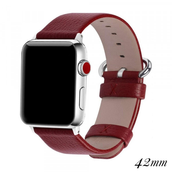 "Interchangeable faux leather band for smart watches. WATCH NOT INCLUDED. Approximately 9.75"" in length.  - 42mm - Adjustable closure"