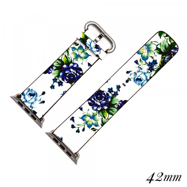 """Interchangeable faux leather band for smart watches featuring a blue and white floral print. Approximately 9.75"""" in length.  - 42mm - Adjustable closure"""