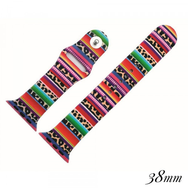 """Multicolor striped silicone watch band for smart watches featuring leopard print details. Approximately 9.75"""" in length.  - 38mm - Adjustable closure"""